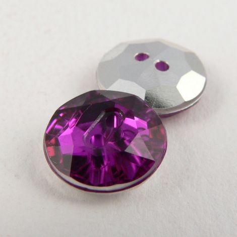 12mm Purple 2 Hole Faceted Button