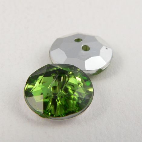 12mm  Green 2 Hole Faceted Button