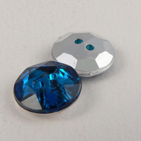 12mm  Montana Blue 2 Hole Faceted Button