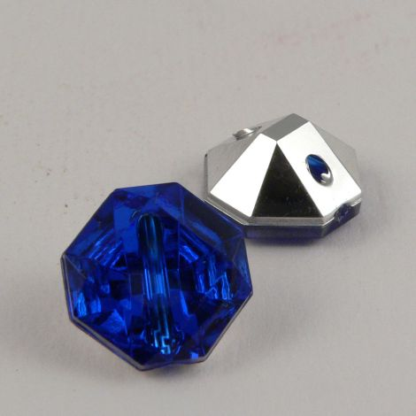 15mm Royal Blue Octaganol Faceted Shank Button