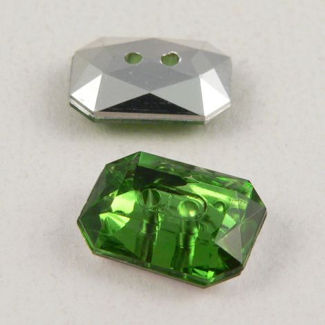 14mm x 10mm Green 2 Hole Faceted Rectangular Button