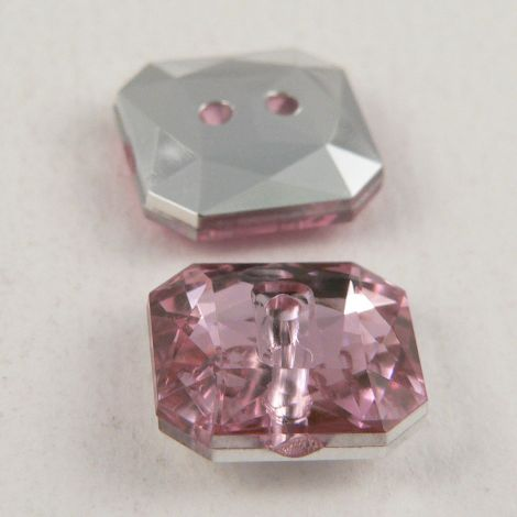 14mm Pale Pink 2 Hole Faceted Square Button