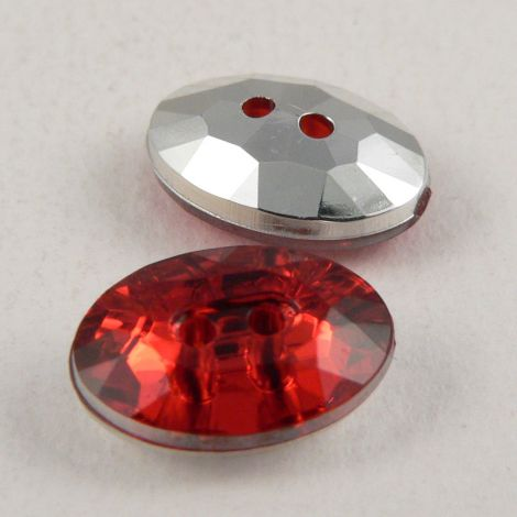14mm Red 2 Hole Faceted Oval Button