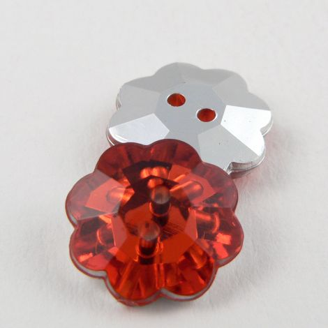 15mm Red Faceted Flower Shank Button