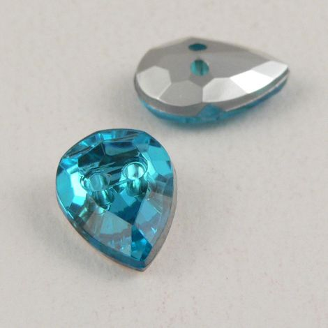 14mm Turquoise Faceted Tear Drop Shank Button