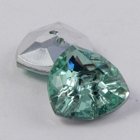 13mm Mint Green 2 Hole Faceted Triangle Button