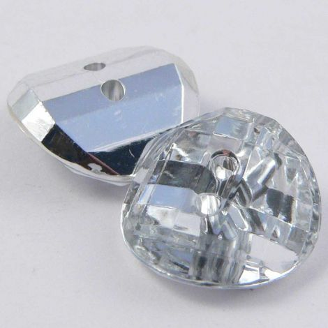 15mm Clear Faceted Round 2 Hole Convex Button