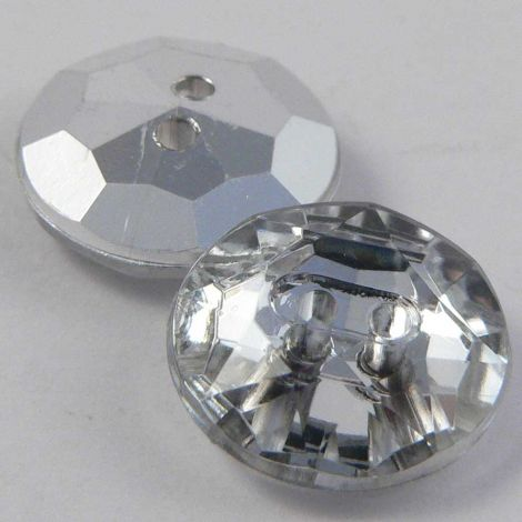 11mm Clear Faceted Round 2 Hole Button