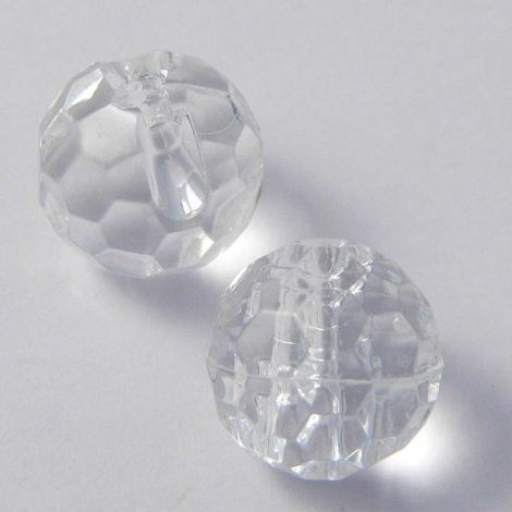 11mm Clear Faceted Ball Shank Button