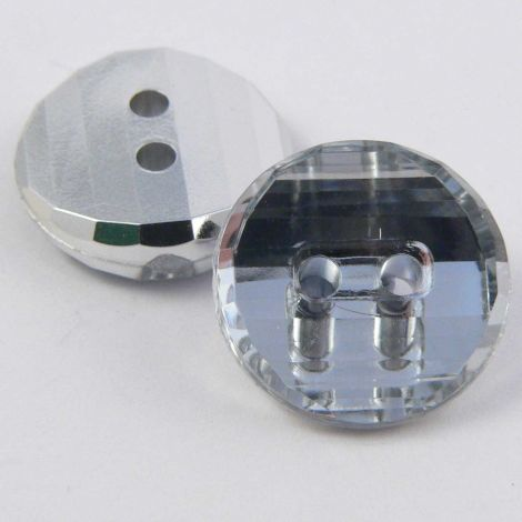 14mm Clear Abstract Round 2 Hole Button