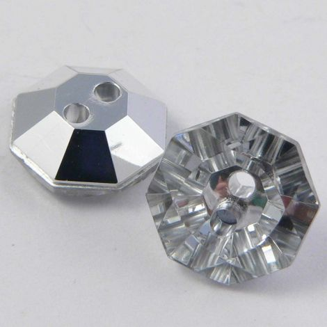 11mm Clear Faceted Octagon 2 Hole Button