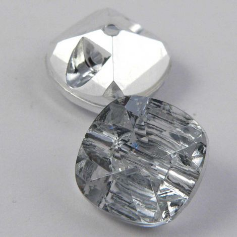 12mm Clear Faceted Square Shank Button
