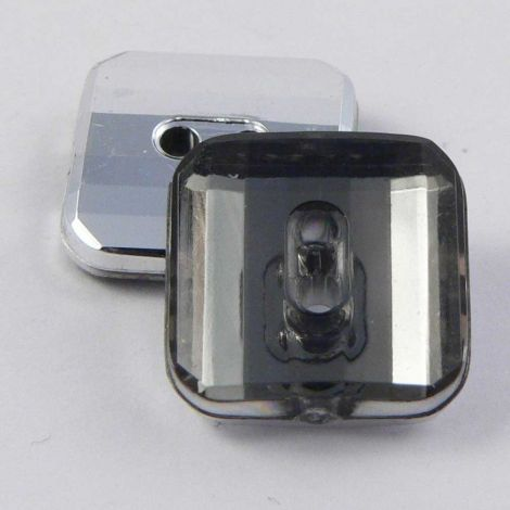 10mm Smoke Abstract Square 2 Hole Button