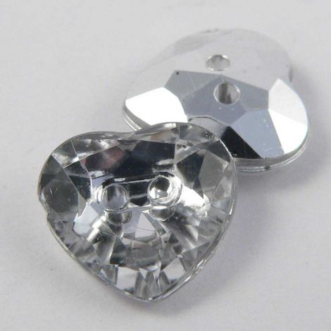 12mm Clear Faceted Heart Shank Button