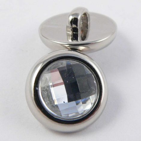 13mm Clear Faceted Silver Rimmed Shank Button