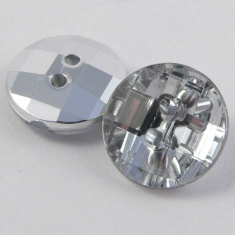 12mm Clear Square Faceted 2 Hole Button