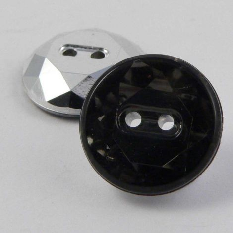 12mm Smoke Flat Top Faceted 2 Hole Button