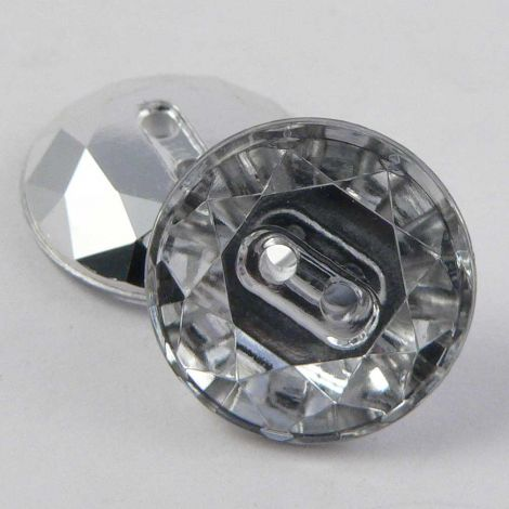 14mm Clear Flat Top Faceted 2 Hole Button