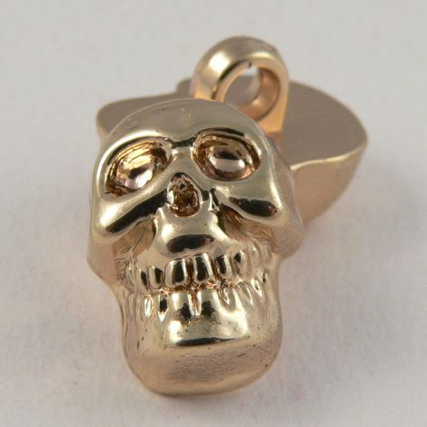 12mm Gold Skull Shank Button