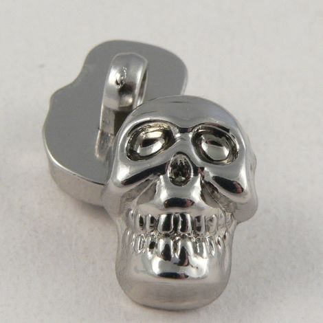 12mm Silver Skull Shank Button