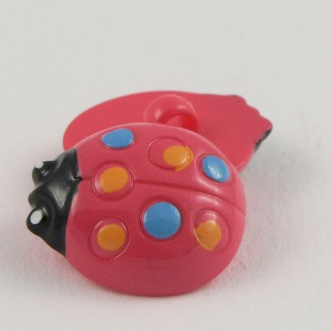 16mm Pink Ladybird Shank Button