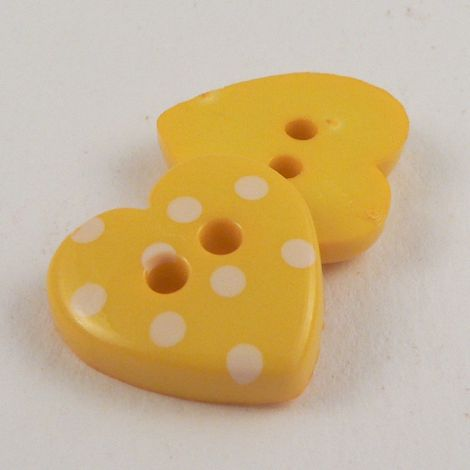 15mm Yellow Spotty Heart 2 Hole Button