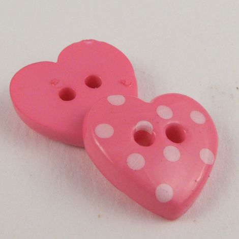 15mm Pink Spotty Heart 2 Hole Button