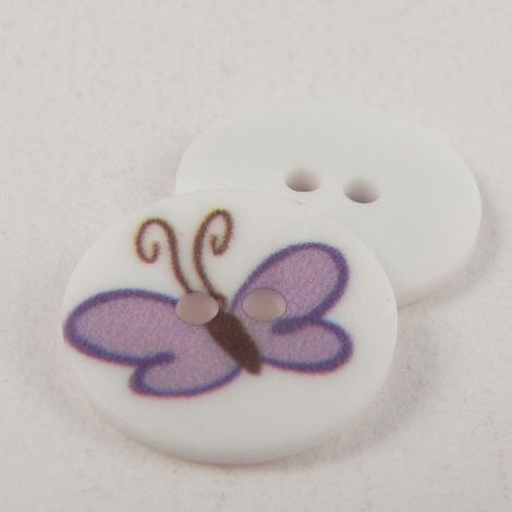 15mm lilac Butterfly 2 Hole Button