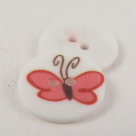 15mm Red Butterfly 2 Hole Button