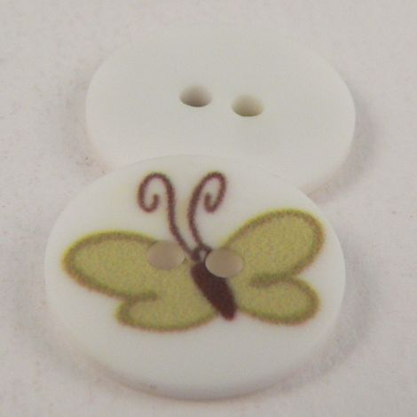 15mm Green Butterfly 2 Hole Button