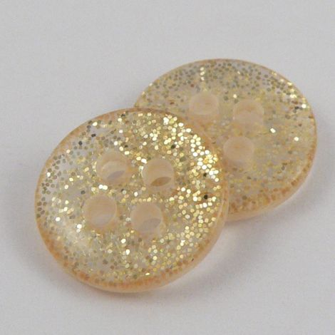 11mm Round Gold Glittery 4 Hole Button