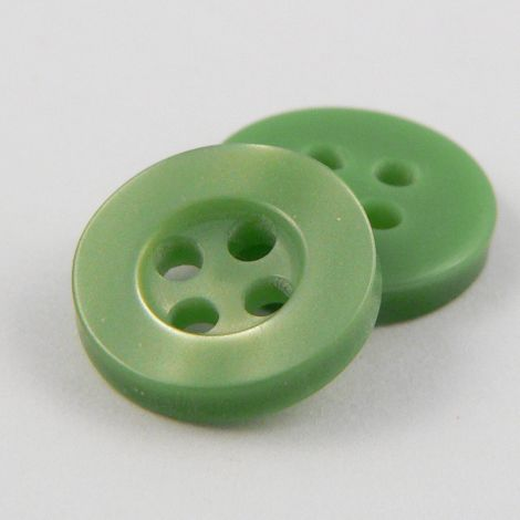 11mm Pearl Sage Green 4 Hole Shirt Button