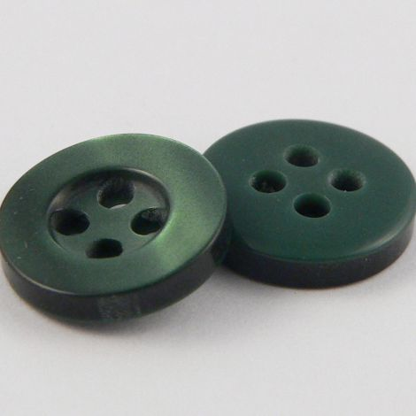 11mm Pearl Forest Green 4 Hole Shirt Button
