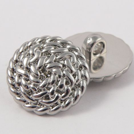 25mm Silver Rope Style Shank Coat Button