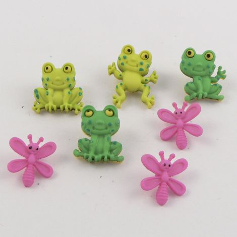 Dress It Up 'Happy Frogs' Button Pack