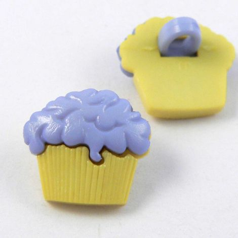15mm Blue & Yellow Cup Cake Shank Button