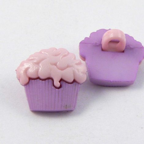 15mm Pink & Lilac Cup Cake Shank Button