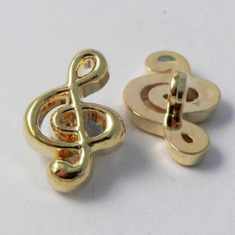 14mm Gold Treble Clef Symbol Shank Button