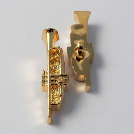 10mm Gold Trumpet Musical Instrument Shank Button