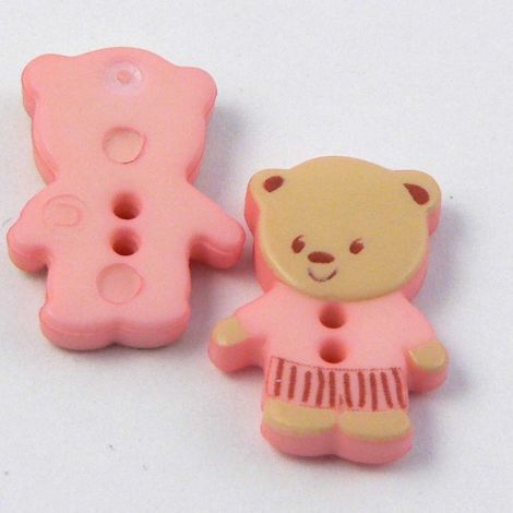 11mm Pink Teddy Bear 2 Hole Button