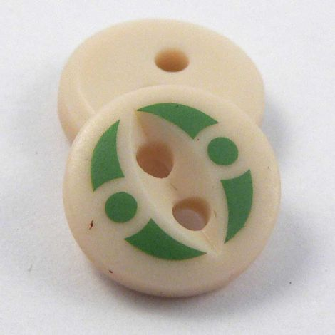 11mm Green Abstract 2 Hole Shirt Button