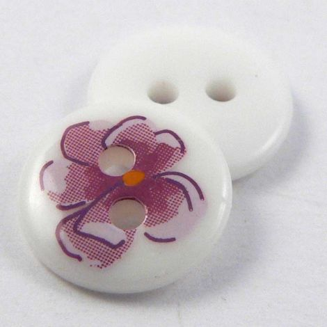 11mm Pink Flower 2 Hole Sewing Button