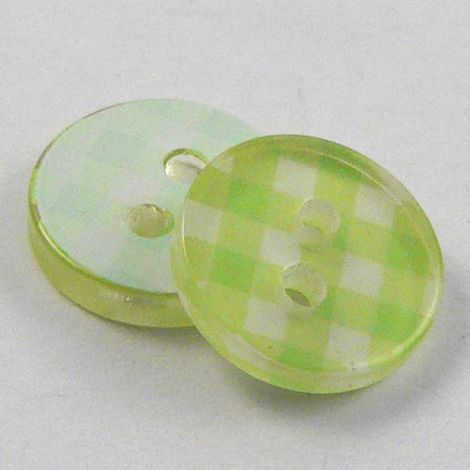 10mm Lime Green 3D Checked 2 Hole Sewing Button