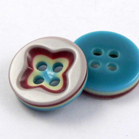 13mm Multicoloured 3D Sunken Middle 4 Hole Sewing Button