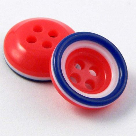 11mm Red White & Blue 4 Hole Button