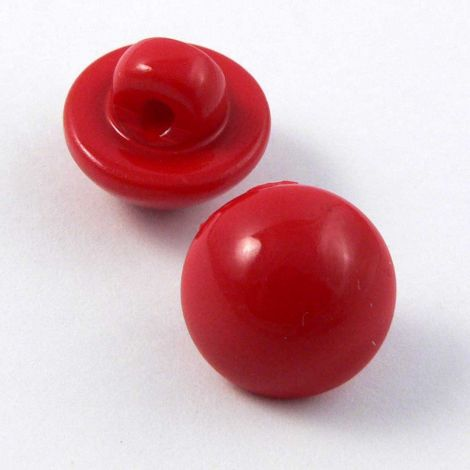 11mm Red Smooth Domed Shank Button
