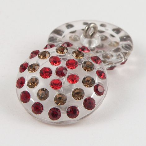 20mm Red Swarovski Crystal Domed Shank Button