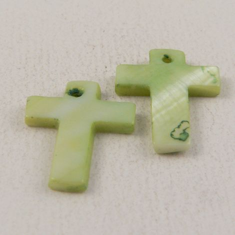 17mm Green Cross Shell 1 Hole Button