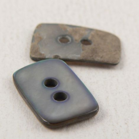 15mm Rectangle Smoke Agoya Shell 2 Hole Button