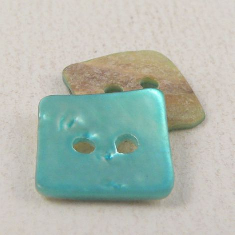 15mm Turquoise Square Agoya Shell 2 Hole Button